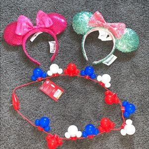 Disney Bundle Ears and Mickey Americana Necklace